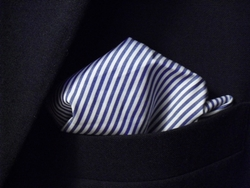 Blue White Striped  Hanky (12 x 12inch) -eta-11/30/17