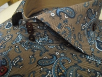 Taupe Blue Paisley High Collar Shirt (Button cuffs) size L(16- 16.5)