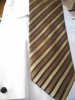 Taupe Tan Stripe Tie and matching hanky