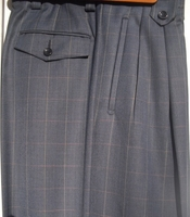 Veronesi Blue Rust Yellow Stripe Windowpane Wide Leg Pants Waist 30