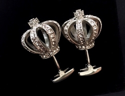 Deluxe Crown Cufflinks Light Beige