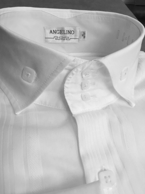 Angelino 3 button white spread high collar shirt for 18 36 37 shirt size