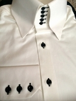 As Is -White Black 5Button hidden button down High Collar Shirt XL