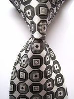 White Grey Black Medallion Silk Necktie