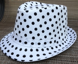White Black Polka Dot Fedora
