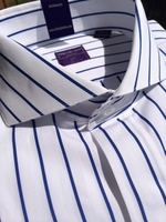 White Blue Stripe Cutaway Collar Dress Shirt 15.5