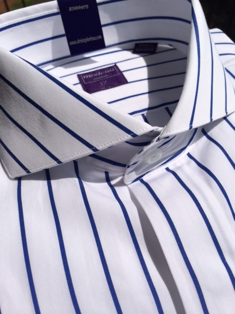 e075e026634cb2 White Blue Stripe Cutaway Collar Dress Shirt 15.5