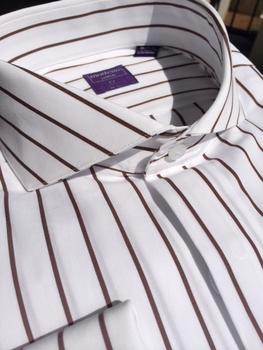 White Brown Stripe Cutaway Collar Dress Shirt
