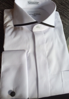 White Cutaway Collar Dress Shirt w/Black Trim