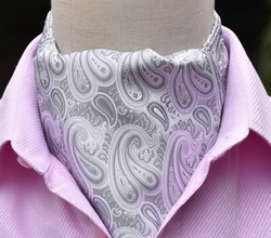 White Grey Paisley Silk Ascot