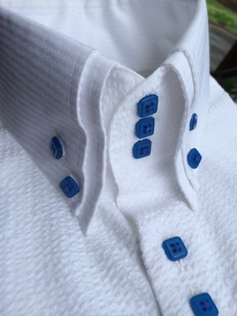 MorCouture White w/Mid Blue Seersucker High Collar Shirt(short or long sleeve)