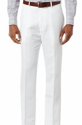 White Modern Fit Flat Front Pants
