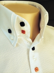 White Red Black Seersucker High Collar Shirt (short or long sleeve)