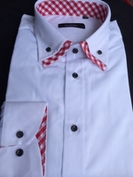 White Red Gingham Accent Double Collar Shirt