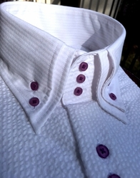 Wht/Purple Seersucker Short Sleeve High Collar Shirt