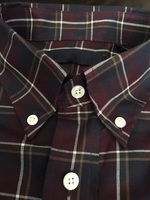 Wine Plaid Button down Collar Shirt size XL