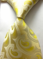 Yellow Abstract  Silk Necktie