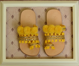 Bela & Nuni Pom Pom Sandals in Mustard Yellow (8,9,10)