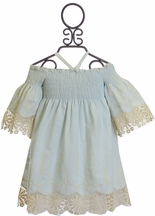 Biscotti Barely Blue Vintage Lace Dress (Size 8)