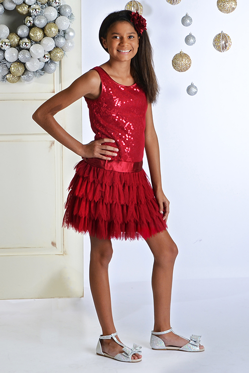 Biscotti girls red christmas party dress