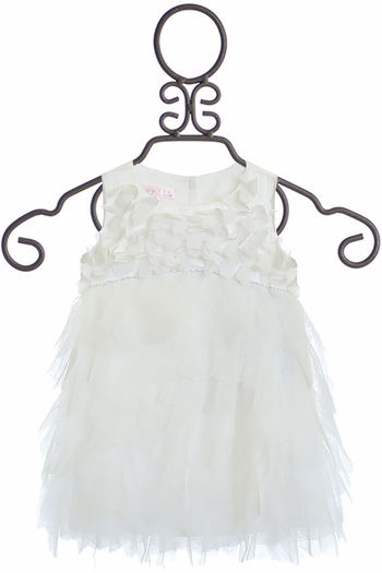 Biscotti Party Petals Ruffle Dress Ivory (12Mos & 24Mos)