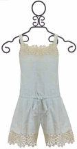 Biscotti Romper with Lace Light Blue (Size 5)