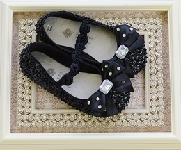 Coastal Projections Black Sequin Flats with Bow (Size 7)