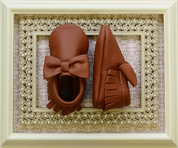 Coral Pear Shoes Brown Baby Moccasins with Bow (Size 0/3Mos)