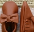 Coral Pear Shoes Brown Baby Moccasins with Bow (Size 0/3Mos) Alternate View