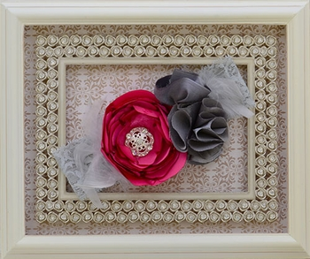 Designer Headband for Girls in Gray and Pink