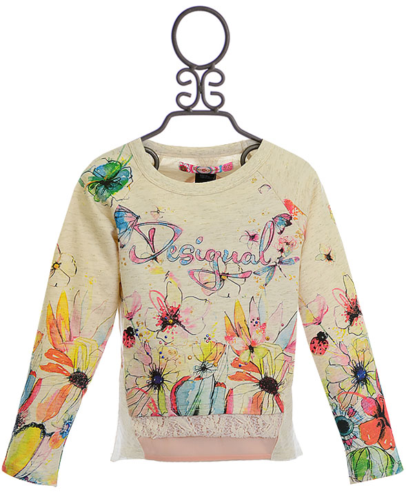 For Girls Desigual Logo Floral Sweatshirtsave With Our Sale