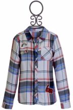 Dex Plaid Top with Patches (LG 14 & XL 16)