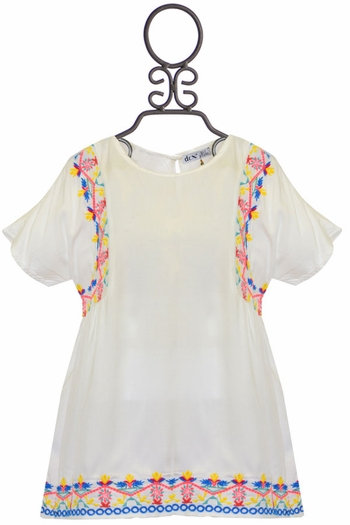 Dex Tween Embroidered Top Ivory