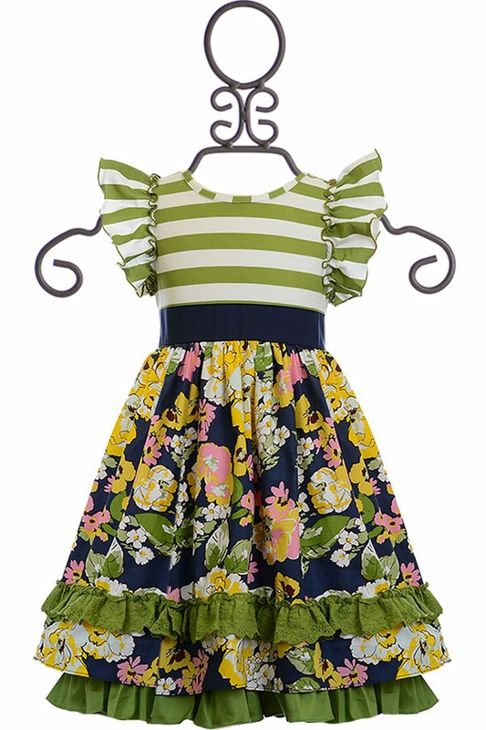 Yellow and white floral dress for tweens