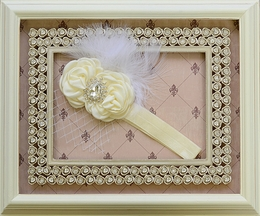 DollBaby Fancy Feathered Headband in Ivory