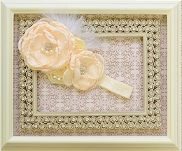 DollBaby Jewelled Rosette Headband in Ivory