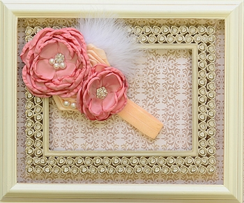 DollBaby Rose and Peach Headband with Boa