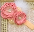 DollBaby Rose and Peach Headband with Boa Alternate View