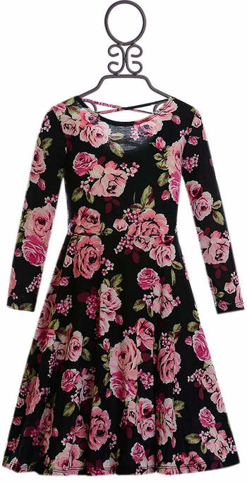 Five Loaves Two Fish Floral Dress in Black (Size 4)