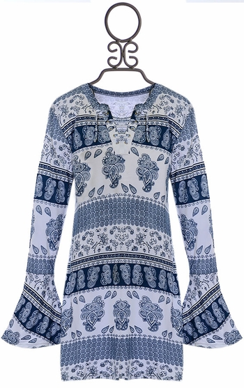 Flowers By Zoe Bell Sleeve Dress Blue SOLD OUT