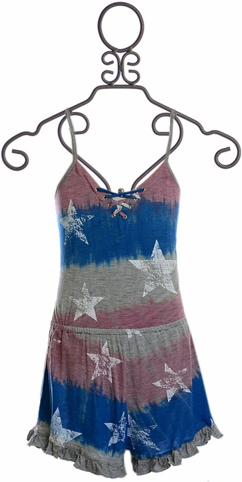 Flowers By Zoe Patriotic Romper (Size  XL 12/14)