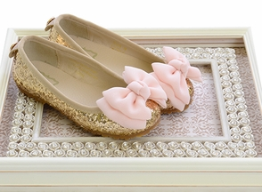 FoxPaws Fancy Glitter Bow Flats for Girls (Size 6)