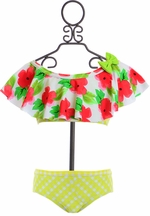 Frou Frou Girls Bikini in Red Floral (6-12Mos & 12-18Mos)