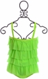 Frou Frou Girls One Piece Swimsuit in Green Alternate View