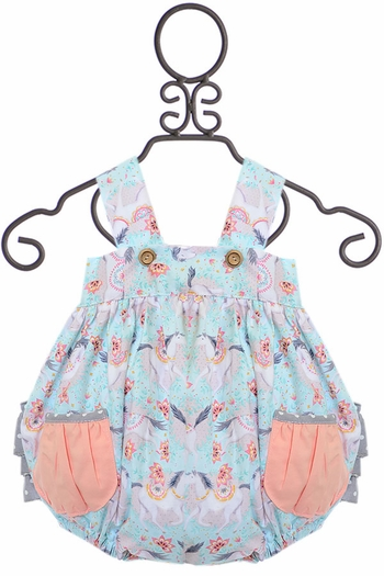 Giggle Moon Fillies of Love Romper (6Mos,12Mos,18Mos)