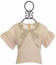 Hannah Banana Girls Glitter Bow Top (Size 4)