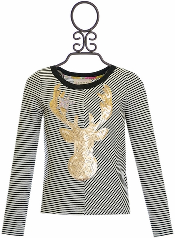 Hannah Banana Girls Top with Sequin Deer SOLD OUT