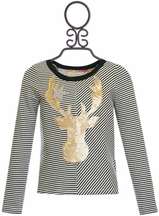 Hannah Banana Girls Top with Sequin Deer (Size 2T)