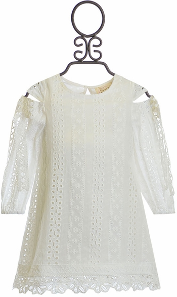 Hannah Banana Girls White Dress Eyelet (5 & 12)
