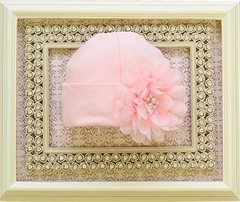 Haute Baby Hat with Pink Pearls and Flowers for Baby